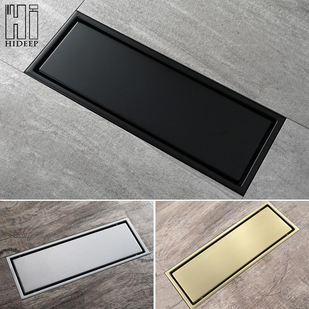 HIDEEP-مصفاة أرضية خطية من الفولاذ المقاوم للصدأ 30 × 11 سنتيمتر ، ملحق للحمام ، دش ، مرحاض ، مضاد للرائحة ، بلاط أسود/ناعم/ذهبي مصقول