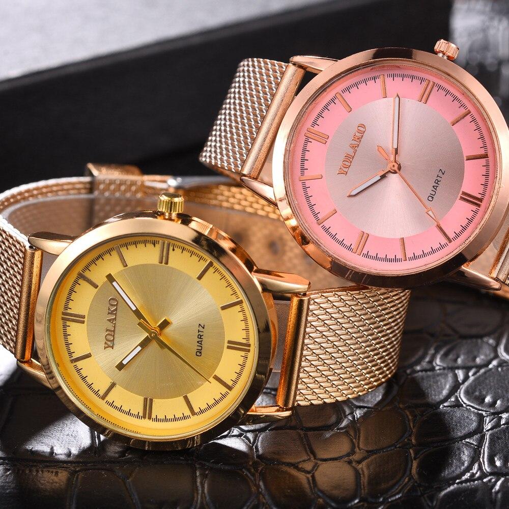 Espejo de cristal de alta dureza de moda para hombres y mujeres malla correa de reloj envío gratis