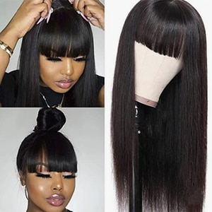 Synthetic Long Wig Hair With Bangs Full Machine Made Wigs Long Straight 28Inch SOKU Cheap Brazilian Remy Wigs For Black Women