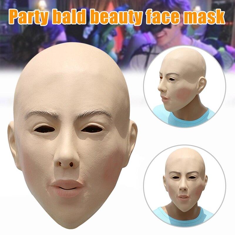 Máscara de belleza calva para fiesta de Halloween disfraz de Mascarada Cosplay Spoof Funny espeluznante YJS Dropship