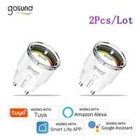 2PCS Gosund Smart Wifi Socket 10A 16A EU Plug With Power Monitor Remote Voice Control Works With Alexa Google Home Tuya App