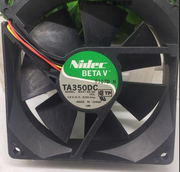 Nidec, ventilador de refrigeración Original TA350DC M34138-58, 12V, 0,50 a, 90x90x25mm