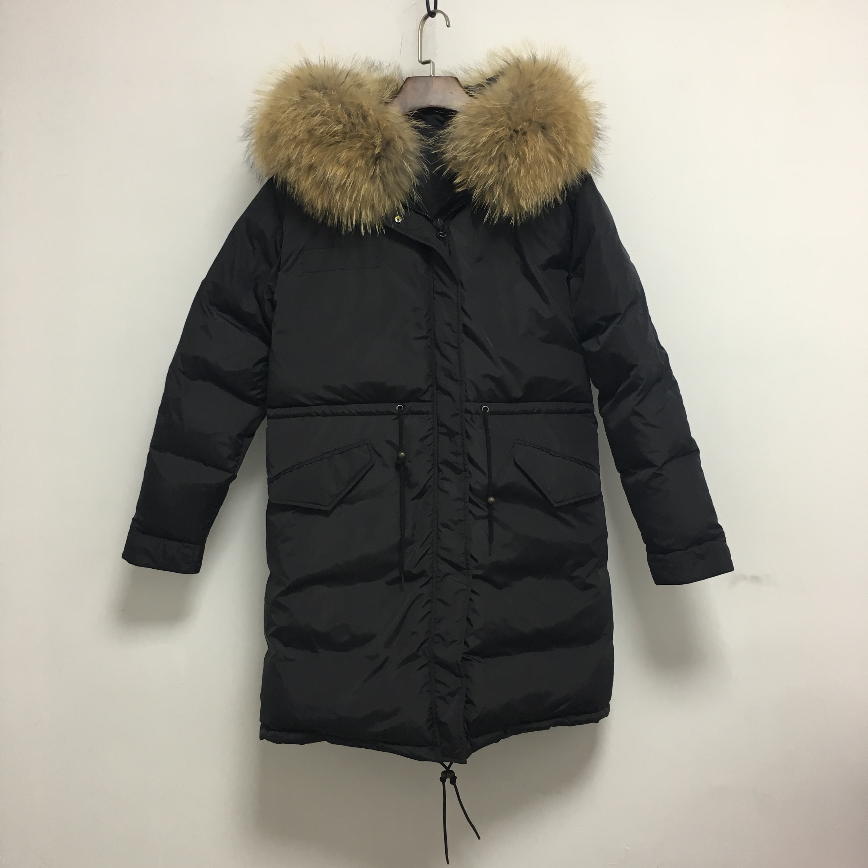 Black Long Down Coat With Signature Natural Fur Collar Outer Fit enlarge