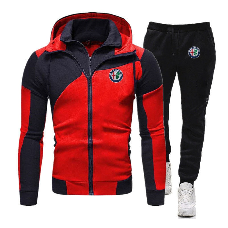 2021 fashion Alfa Romeo brand men's printed jacket zipper hooded sweater + hip-hop casual sports pants two-piece fitness suit