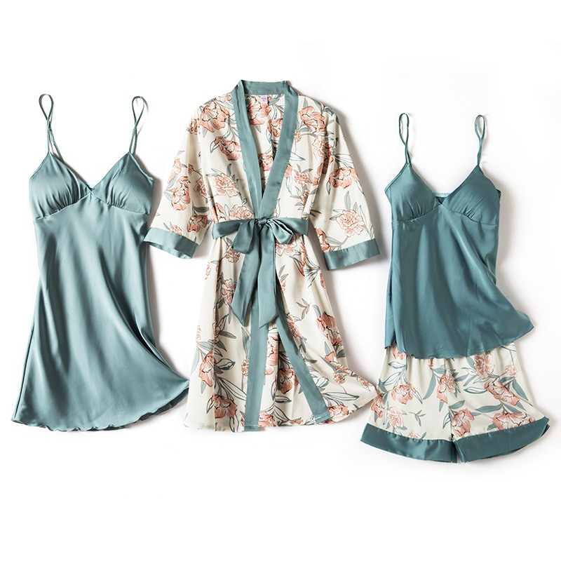 Pajamas for Women Pijama Mujer 4 Piece Set Sexy Ladies Pyjama Sleepwear Women Pajama Sets Sleep Loun