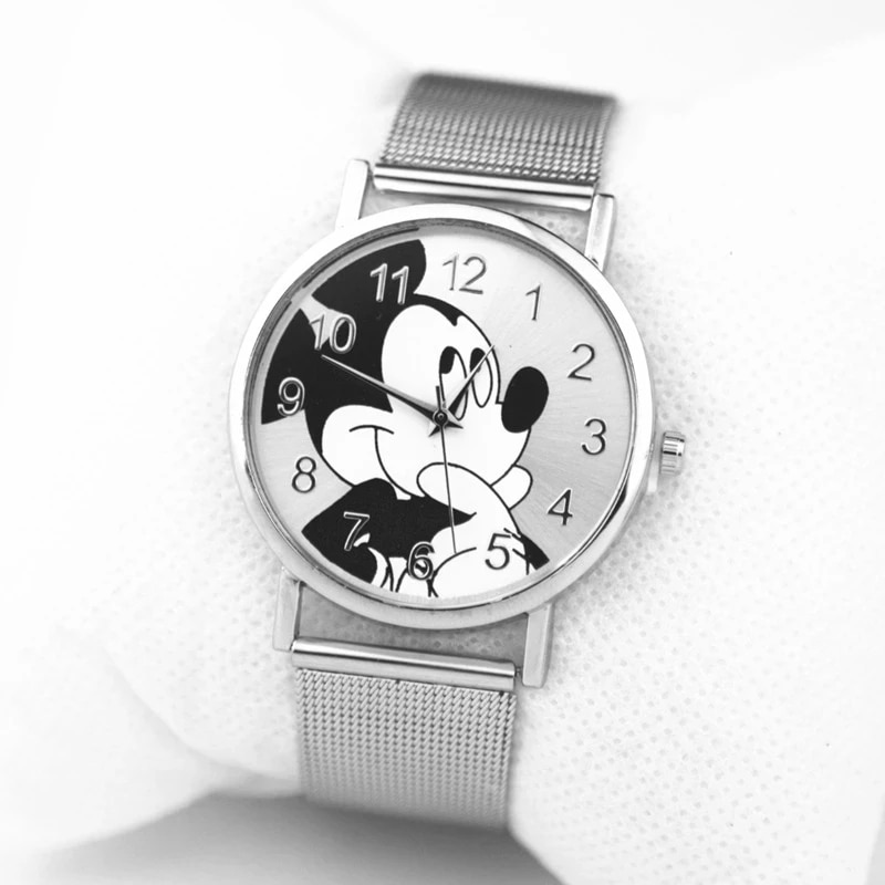 2021Fashion Cartoon Men Women Quartz Watches Cute Boy Girl Like Mickey Watch Silver Stainless Steel