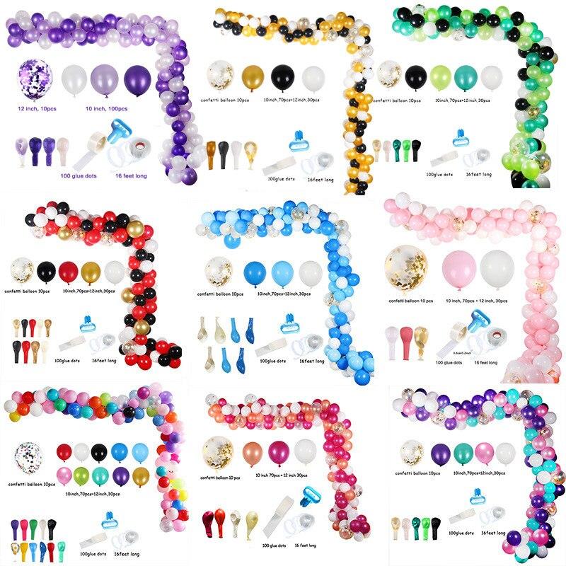 113 Uds. Globo de arco colorido de 16 pies set de guirnaldas decoraciones telón de fondo Ideal para boda cumpleaños Baby Shower fiesta nupcial Decoración