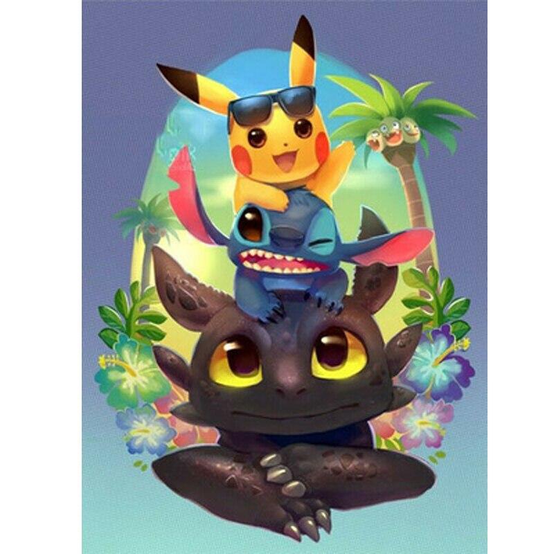 Dragón y Pikachu, Pokemon,Piplup, bordado de diamantes de imitación, mosaico de diamantes de imitación, Diy 5d, Pintura Anime de diamantes