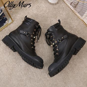 Ollymurs  Women Boots Short Boots Ladies New Luxury Design  Zipper Quality Shoes Women Rivets