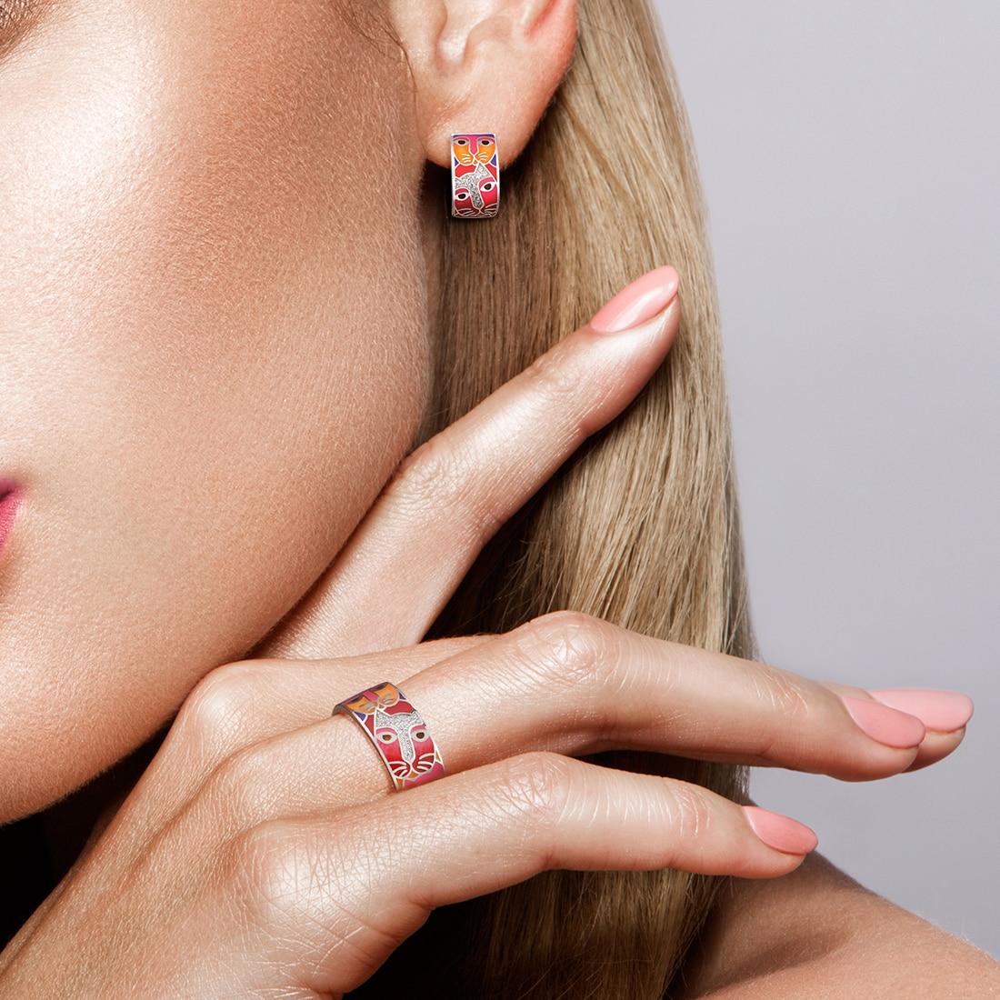 SANTUZZA Pure 925 Sterling Silver Jewelry Set For Woman White CZ Red Cat Enamel Ring Earrings Set Lovely Fine Jewelry Handmade
