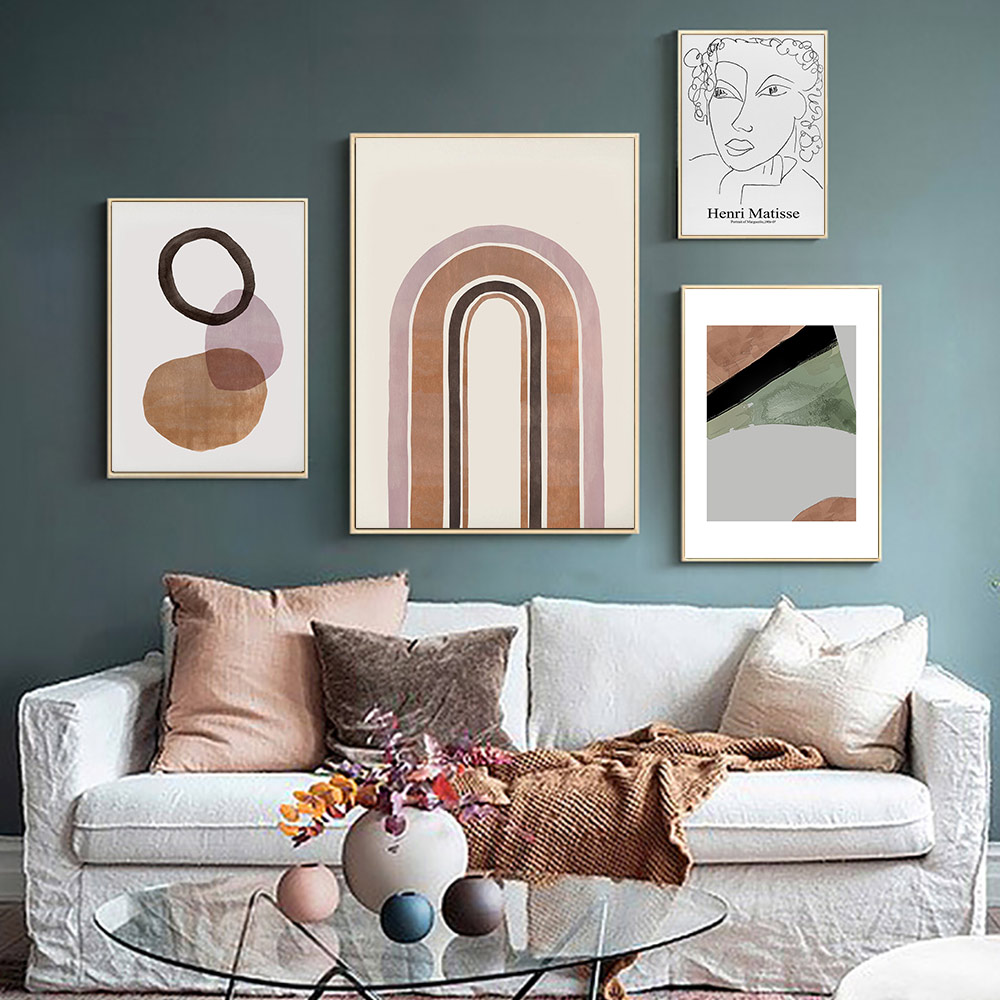 Pintura abstracta naranja quemada línea geométrica dibujo mujer lienzo pósteres moderno Boho pared arte cuadros decoración del hogar