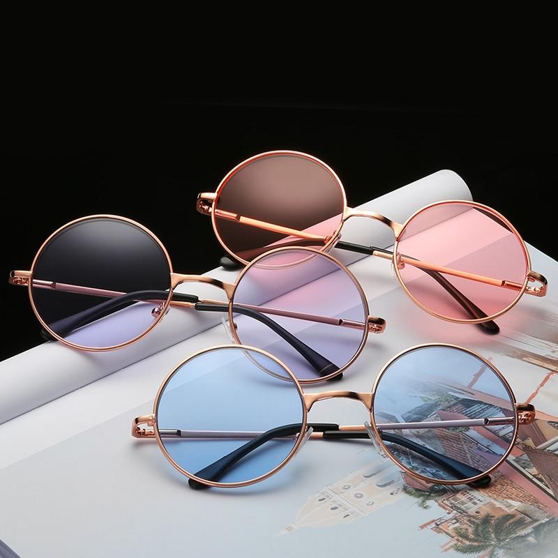 Round Sea Color Round Sunglasses Men Round Metal Mens Sunglass Brand Designer Retro Glasses UV400 Sunglasses for Women
