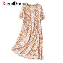 SuyaDream Woman Printed Dress 19mm Silk Satin A line Short Sleeves O neck Dresses 2021 Spring Summer