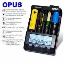 Opus BT-C3100 V2.2 Digital Intelligent 4 Slots LCD Battery Charger For Li-ion NiCd NiMH AA AAA 10440 14500 18650 17335 17500 Rec