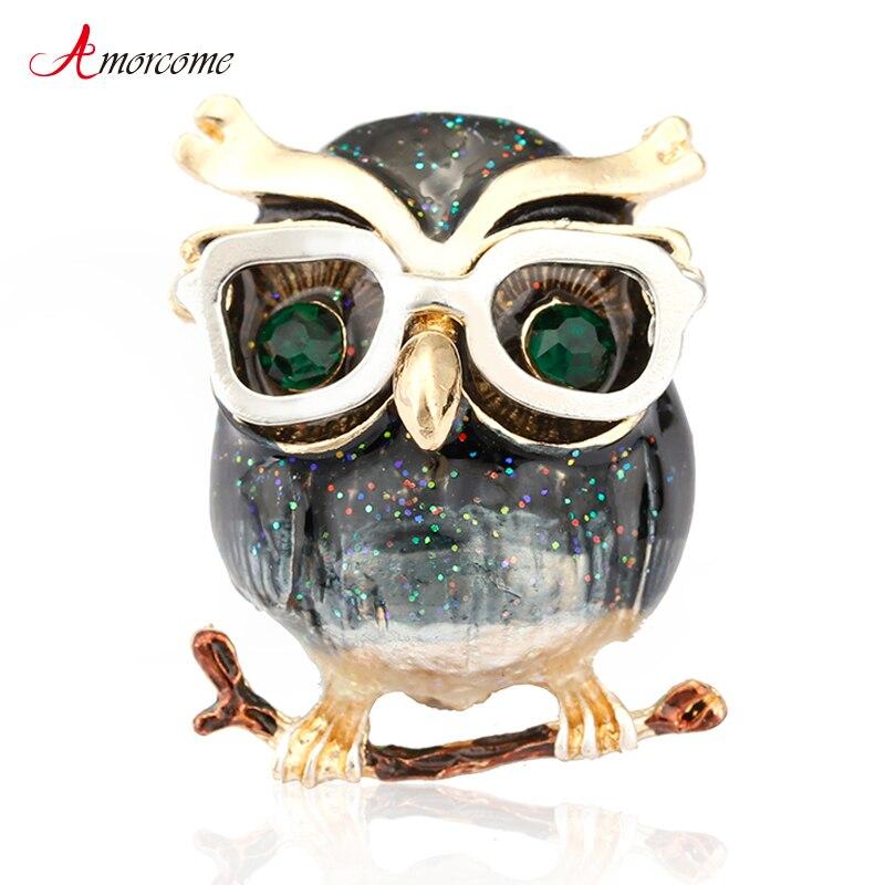 Amorcome lindos ojos verdes búho broche llevar gafas moda esmalte Pin Animal broches buen regalo para niños y mujeres Año Nuevo