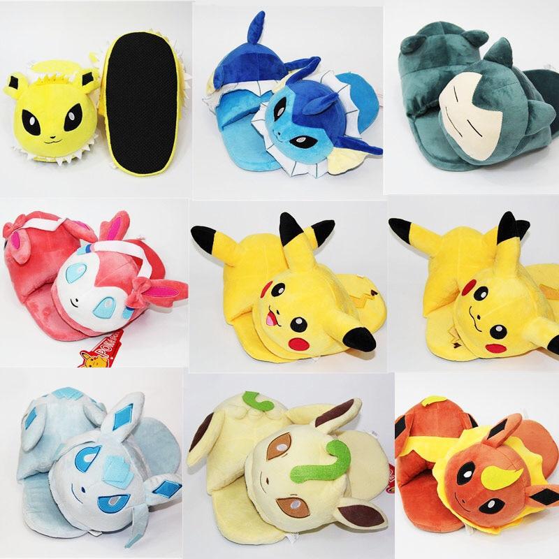 Invierno hombres mujeres pantuflas de Pokemon Elf Ball Pikachu Eevee Umbreon de peluche zapatos calientes casa diapositivas Mujer