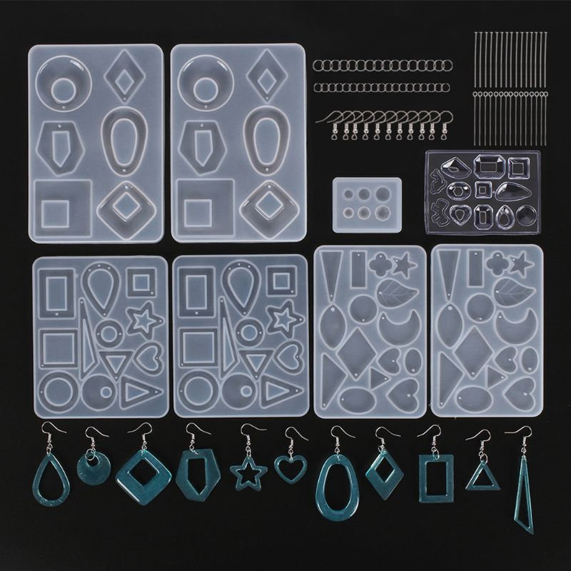 Earring Resin Mold DIY Crafts Epoxy Resin Silicone Mold Including Earring Hook 85LB