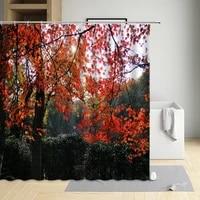 nature theme forest tree shower curtain modern eco friendly waterproof cloth bathtub decor bath screen with hooks