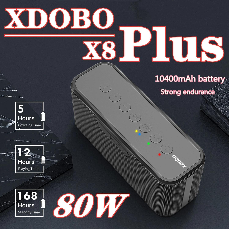 XDOBO X8 Plus 80 واط ميكرفون بلوتوث محمول IPX5 مقاوم للماء مضخم صوت 10400 مللي أمبير بطارية سعة كبيرة تدعم بطاقة TF