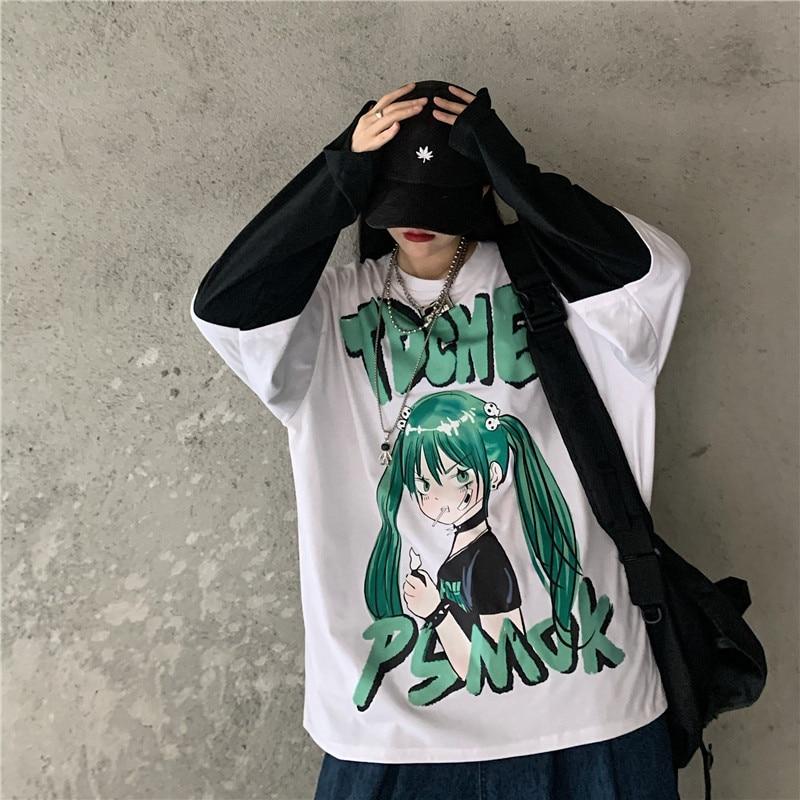 Gothic  Kpop E-Girl  Print Drak Tops Autumn Kawaii Clothes Crop Harajuku O-Neck Splicing Long Sleeve Women Ins T-Shirts Y2k