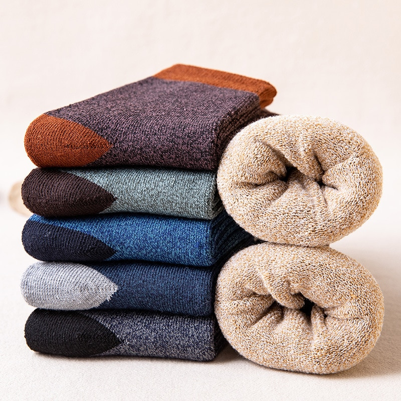5/6 Pairs Men's Warm Socks Autumn Winter Plush Thickened Terry Cotton Socks Breathable High Quality Leisure Business Adult Socks