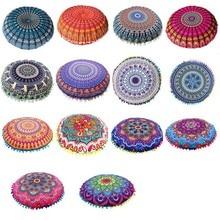 Taie doreiller ronde à motif Mandala indien, housse de coussin sur le sol bohémien, 43*43CM