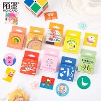 46 pcsbox 8 design kawaii cartoon stickers aesthetic decorative collage scrapbooking stationery adhesive diy stickers labels