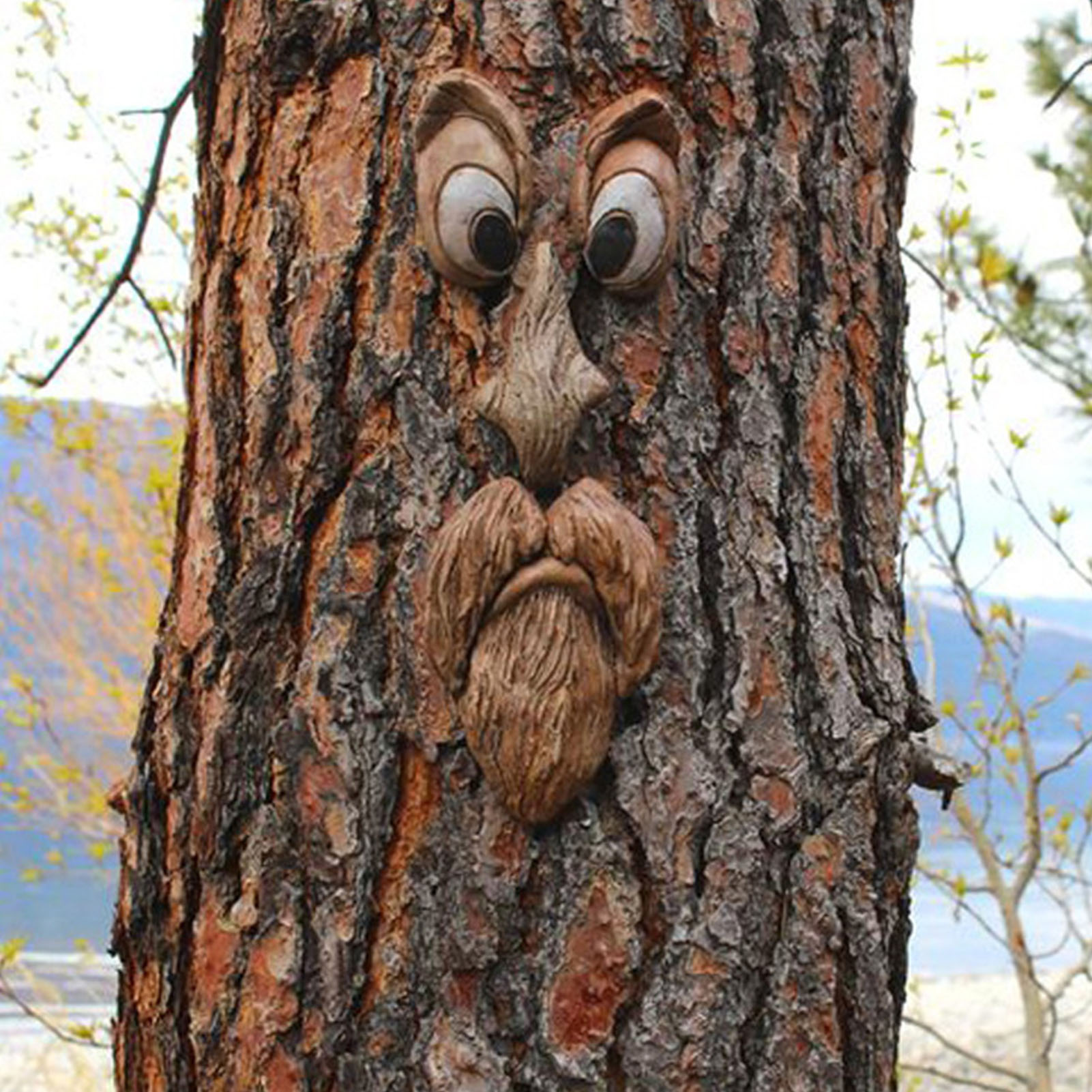 رجل عجوز شجرة هجر حديقة Peeker ساحة الفن في الهواء الطلق شجرة مضحك الرجل العجوز الوجه النحت غريب الأطوار شجرة الوجه حديقة الديكور