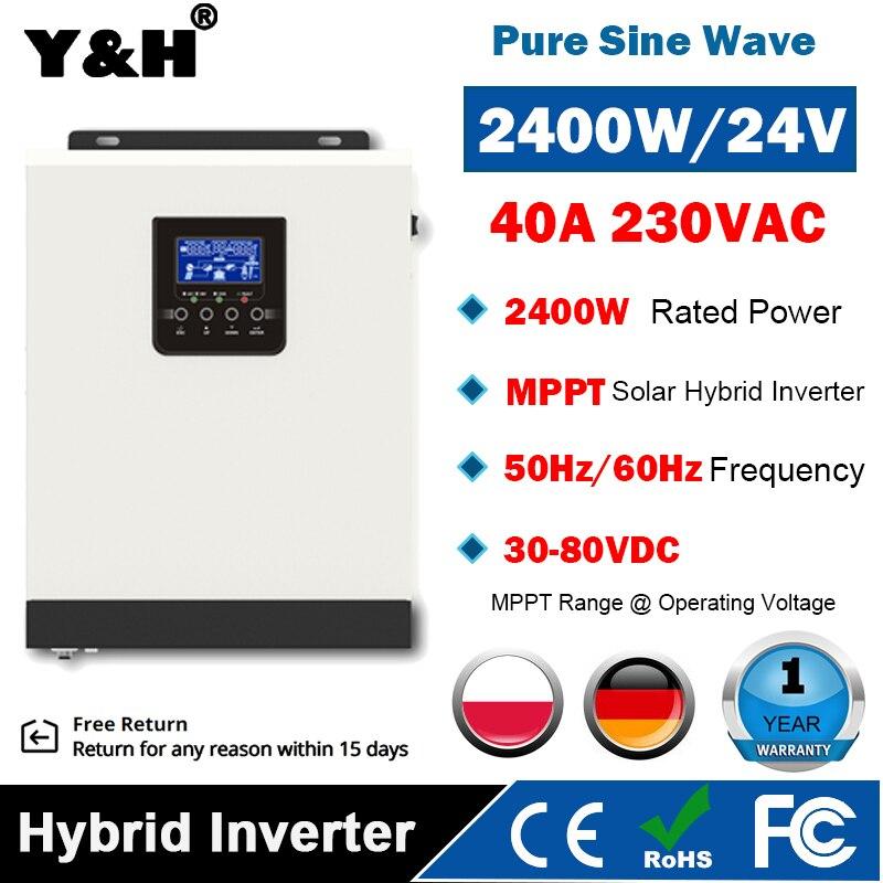 3000VA 2400 واط الشمسية الهجين العاكس موجة جيبية نقية 24VDC 220VAC الناتج الشمسية العاكس المدمج في MPPT 40A الشمسية جهاز التحكم في الشحن