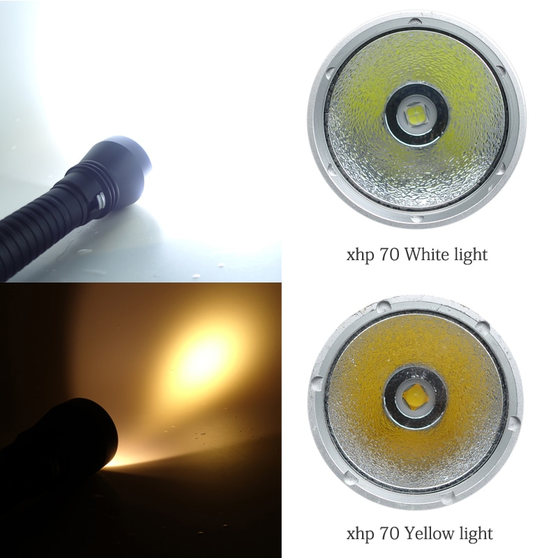 XHP70 LED Yellow/White Light 2000 Lumens Diving Flashlight 26650 Torch Underwater 100M xhp70.2 spearfishing led diving lamp enlarge