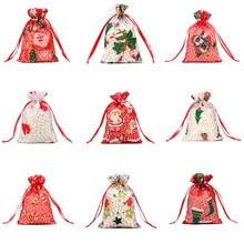 Sac en Organza coloré rouge blanc 10X15 13x18cm   Sac de noël en gaze, sacs à bijoux, emballage, sac cadeau tendancieux, 55 pièces