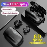 tws black bluetooth 5 0 earphone wireless earbuds headphons 2 in 1 power bank 3500mah 9d touch control with led display mic
