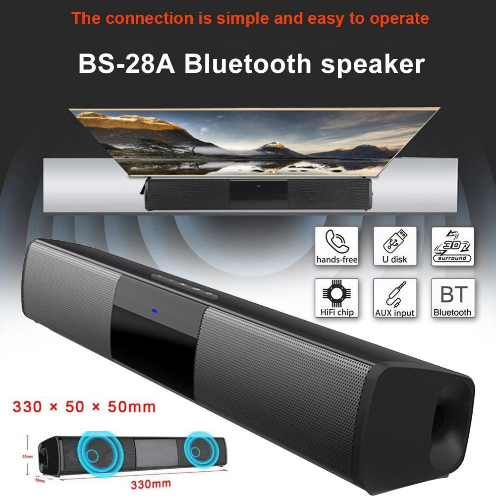 Barra de sonido de TV inalámbrica BS-28A, barra de sonido Bluetooth, altavoz de TV, Subwoofer para TV, PC, teléfono inteligente, tableta, Control remoto