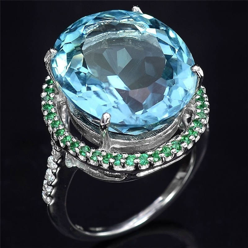Womens Retro 925 Silver Sea Blue AAA Zircon Ring Engagement Wedding Party Gift Jewelry Wholesale