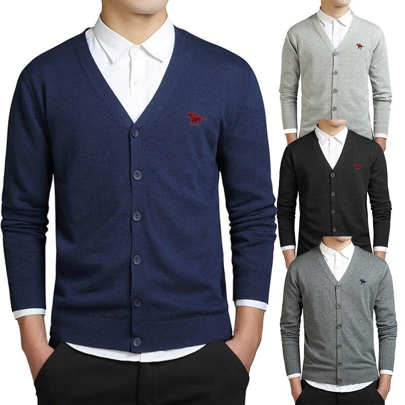 Jersey con logotipo de polo bordado para hombre, suéter a la moda, abrigo para hombre, cárdigan de algodón de corte REGULAR para primavera y otoño, cárdigan para hombre M-3XL