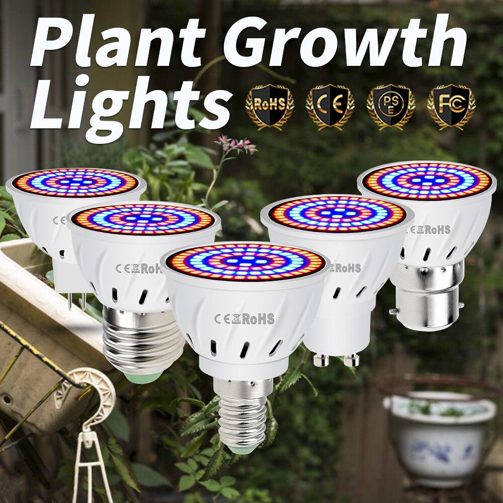 Phyto Grow box Lamps E27 Full Spectrum GU10 Plant Grow Bulbs MR16 Led Bulbs 48 60 80leds B22 LED Grow Chip Greenhouse Phyto Lamp