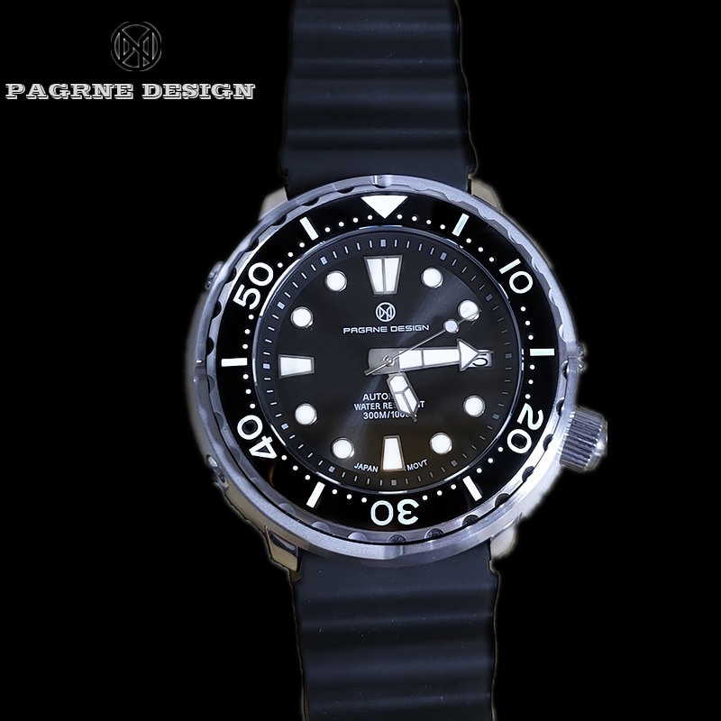 PAGRNE DESIGN New Ceramic Bezel Automatic Watch Luxury Sapphire Glass Men Mechanical Watches Waterpr
