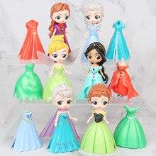 6 pièces Disney princesse Dressing poupée figurines jouets gâteau décoration cadeau danniversaire cendrillon neige blanc fée poupées 2Y04