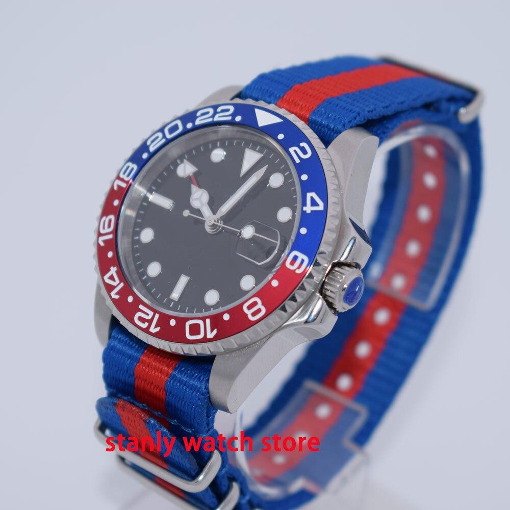 Reloj de hombre unicolor Parnis de 40mm, esfera negra estéril, azul, rojo, con bisel luminoso, función GMT de zafiro, correa de movimiento automático