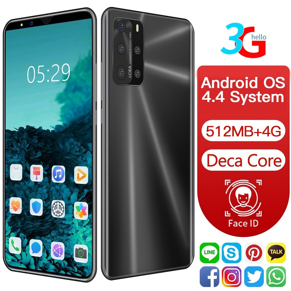 "3g wcdma 5.72 ""tela smartphone 512mb + 4gb duplo núcleo frant voltar câmera dois sim face id impressão digital mtk6572 android google play"