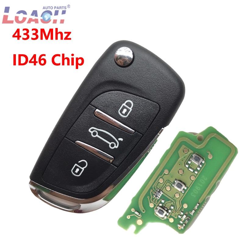 433MHz 3 Botões Virar Folding chave Do Carro Para Peugeot 407 307 207 308 807 com Chip de ID46 VA2 lâmina fob chave de Controle remoto CE0536 PERGUNTAR