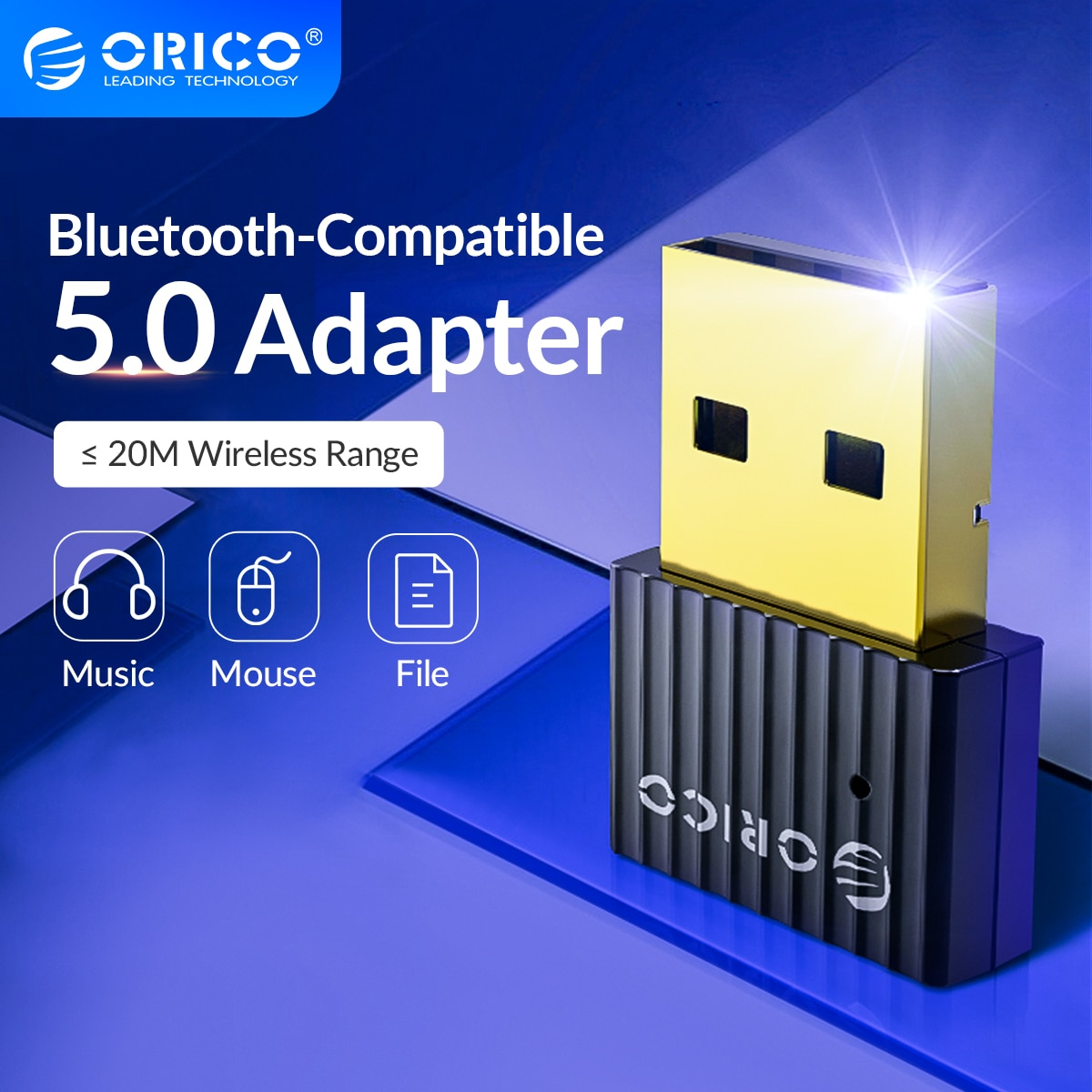ORICO Mini Wireless USB Bluetooth-Compatible Dongle Adapter 5.0 Music Audio Receiver Transmitter for PC Speaker Mouse Laptop