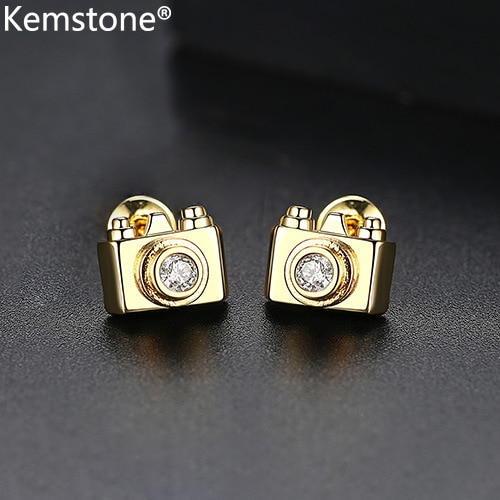 Kemstone Creatived Color dorado AAA Zirconia cúbica, pendientes de tuerca para cámara, regalo de joyería para mujeres, fotógrafo