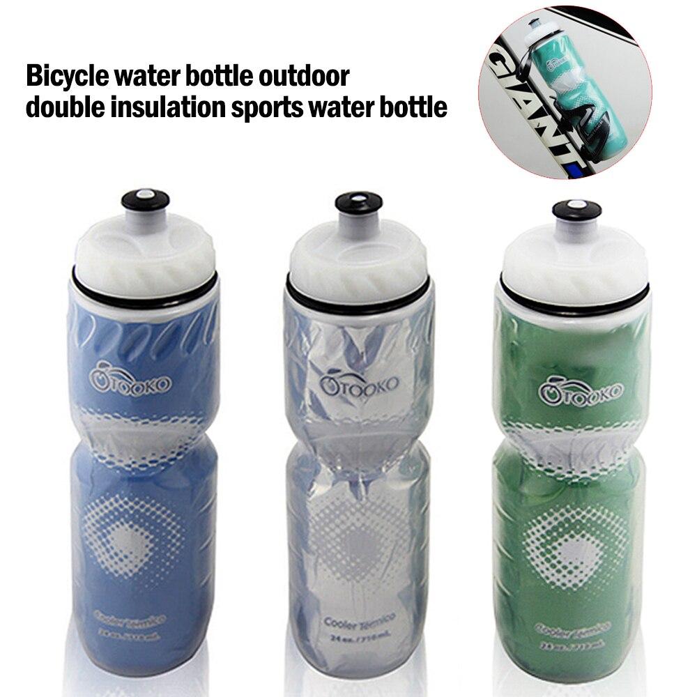 710ml bicicleta garrafa de água ao ar livre dupla camada térmica mantendo esporte garrafa de água quente e fria ciclismo garrafa de água equipamento de ciclismo Garrafa de água p/ bicicleta    -