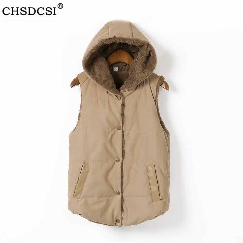 Casaco de inverno lã casual moda sem mangas plus size jaqueta espessamento algodão colete feminino com capuz quente colete senhoras casacos