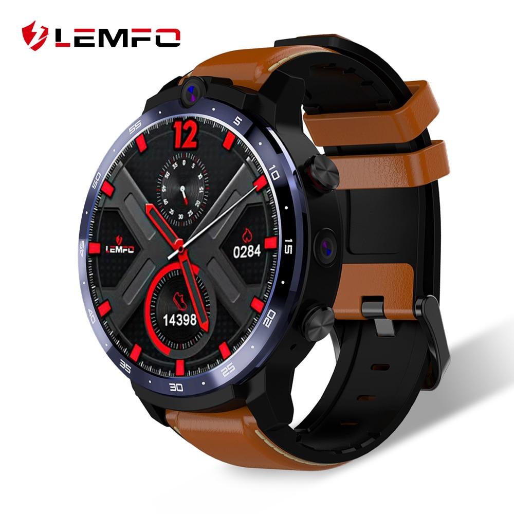 Lemfo lem12 2020 mais novo rosto id 1.6 Polegada câmera dupla lte 4g relógio inteligente android 7.1 3 gb 32 1800mah bateria homem smartwatch