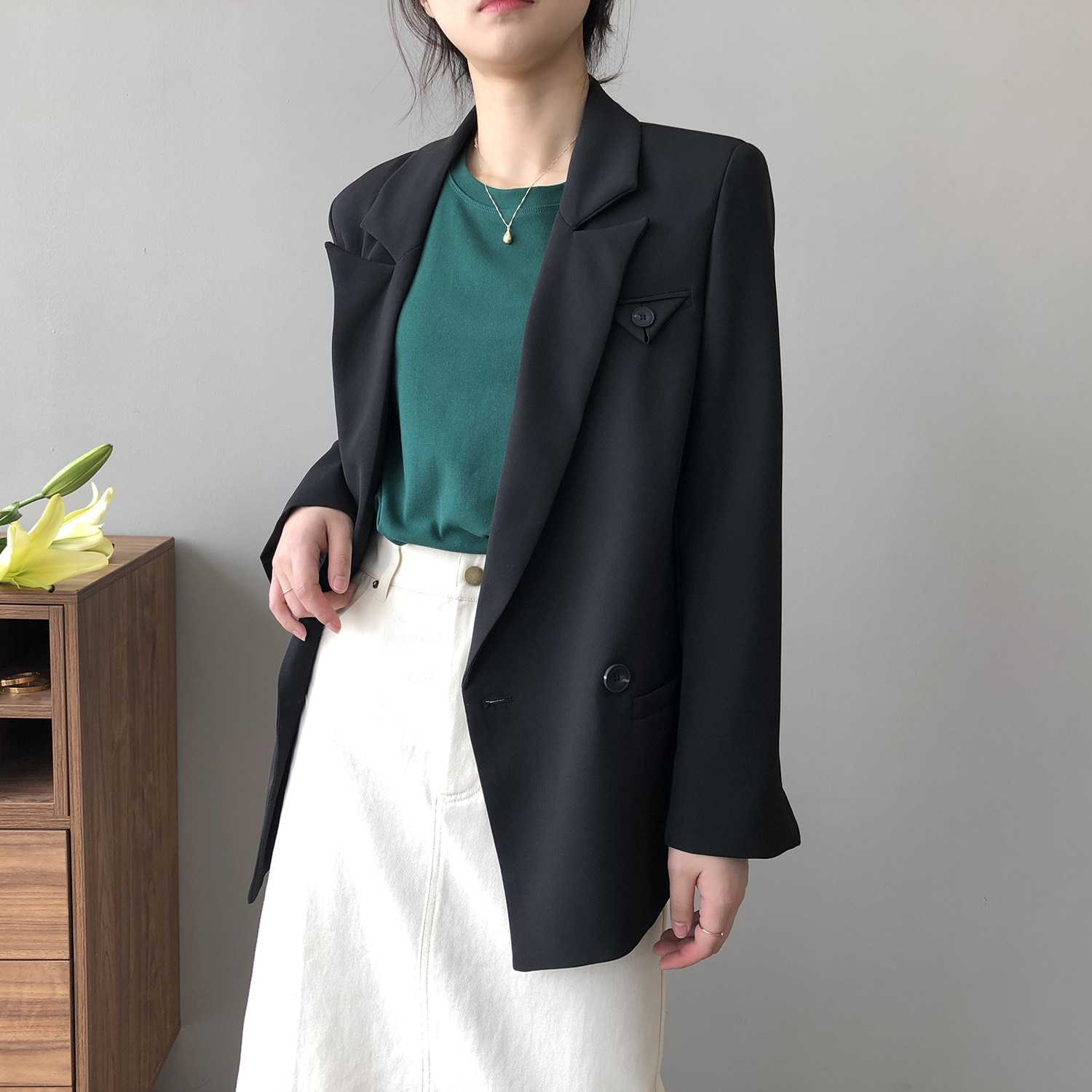 2021 Spring Autumn Womens Single Button Loose Long Blazer Suit Jacket Female Oversized Coat Solid Co