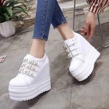 NEW Arrival Designer Women High Platform Wedge Sneakers Solid Hidden Heel Casual Shoes Woman Thick Bottom Girl Female Sneaker W5