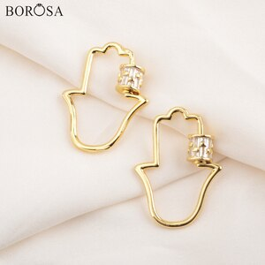 BOROSA Hamsa Hand Micro Paved CZ Spiral Clasp Screw Lock Gold Fastener Clasps Jewelry Fittings for Necklace Jewelry Gifts WX1346