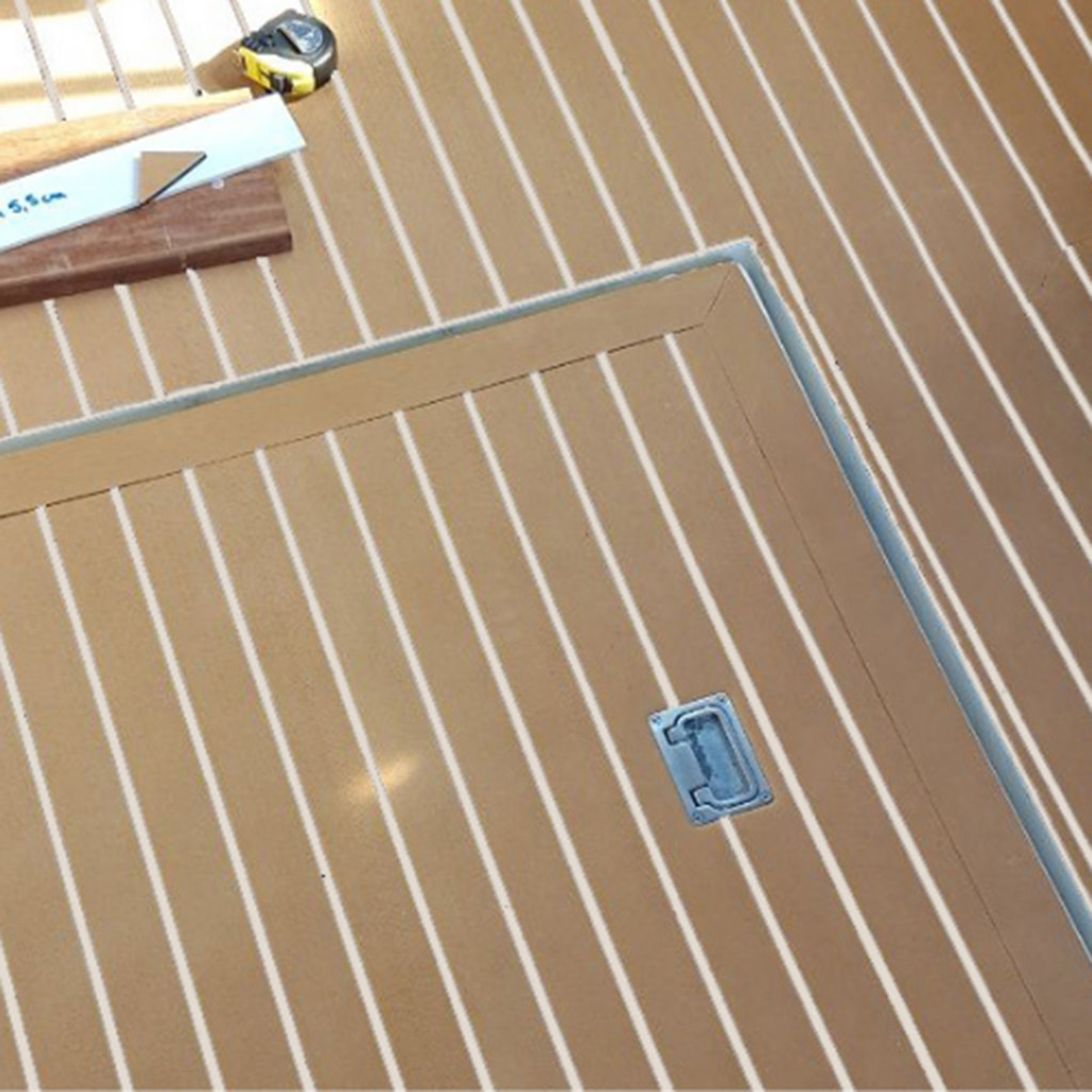 6MM Self Adhesive EVA Foam Teak Sheet Marine Boat Yacht Synthetic Decking Foam Floor Mat Flooring Black Lines enlarge